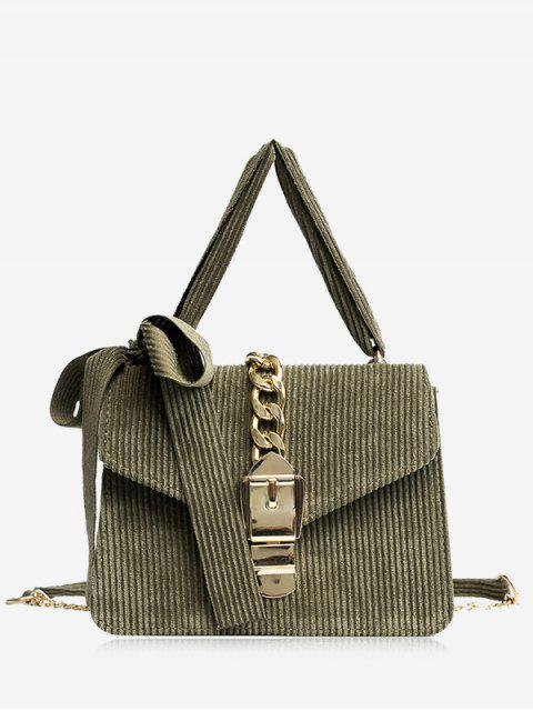 trendy Buckle Strap Bow Chain Crossbody Bag - GREEN  Mobile