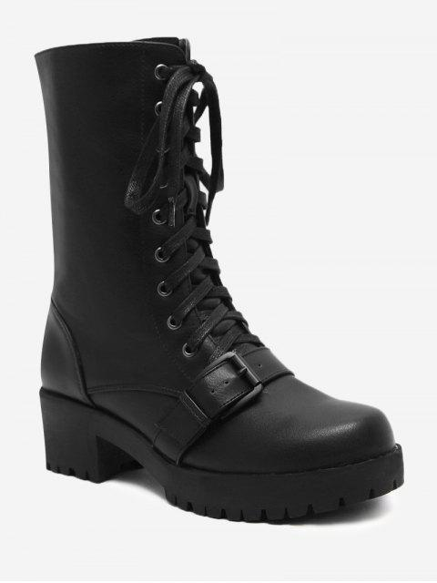 fashion Block Heel Buckle Strap Mid-calf Boots - BLACK 38 Mobile
