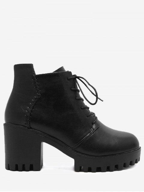 Seitliche Reißverschluss Chunky Heel Ankle Boots - Schwarz 37 Mobile