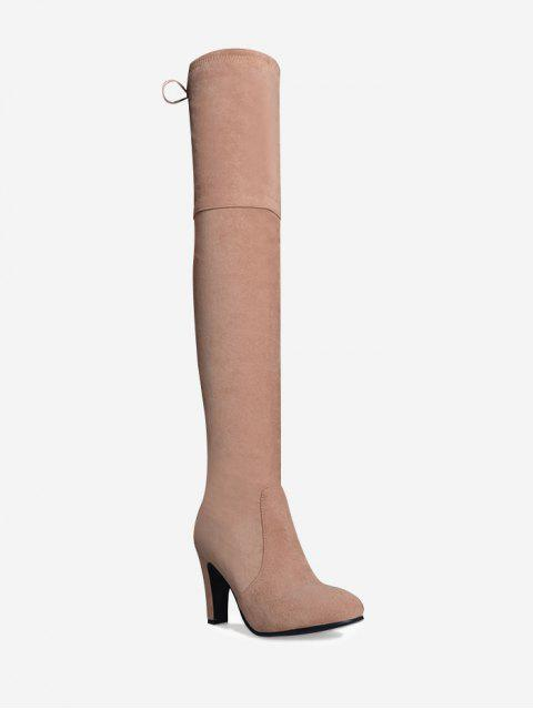 Tie Back Mittlere Ferse Oberschenkel Hohe Stiefel - Pink 42 Mobile