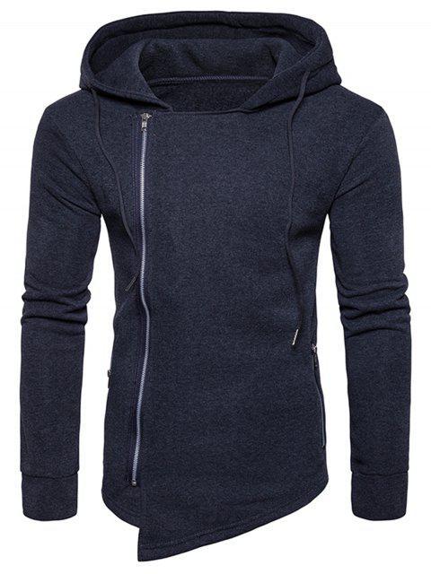 Hooded Drawstring Asymmetrischer Hoodie mit Reißverschluss - Dunkelgrau 2XL Mobile