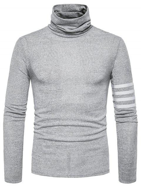 Turtle Neck Stripe Stripe Embellished Knitted Sweater - Gris Claro L Mobile