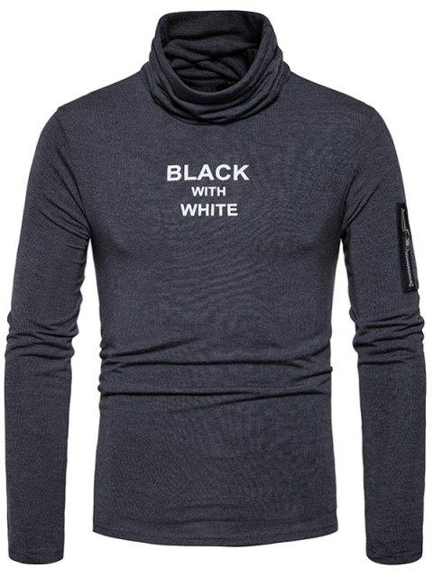 Cuello con capucha estampado gráfico con cremallera de manga larga camiseta - Gris Oscuro XL Mobile