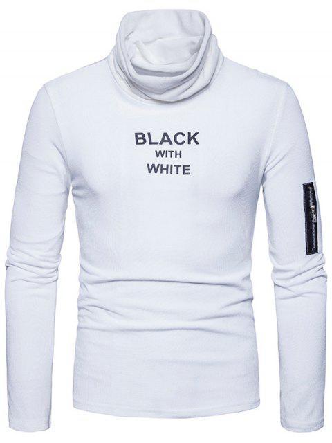Cuello con capucha estampado gráfico con cremallera de manga larga camiseta - Blanco M Mobile
