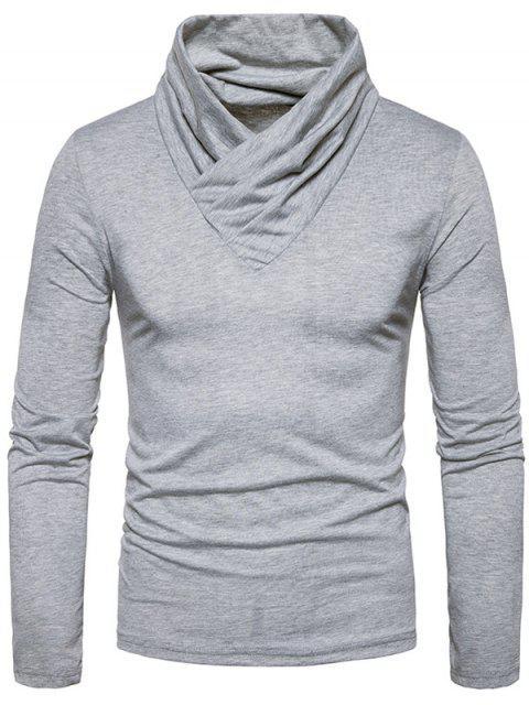 T-shirt classique à manches longues et encolure dégagée - Gris Clair M Mobile