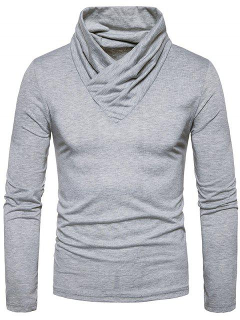 Camiseta de manga larga clásica con cuello vuelto - Gris Claro 2XL Mobile