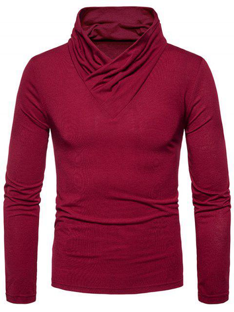 Camiseta de manga larga clásica con cuello vuelto - Vino Rojo M Mobile