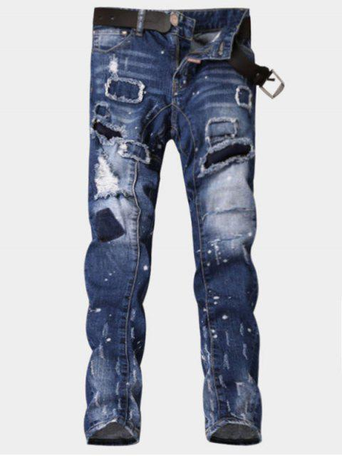 Zipper Fly Paint Print Patch Ripped Jeans - Azul 32 Mobile