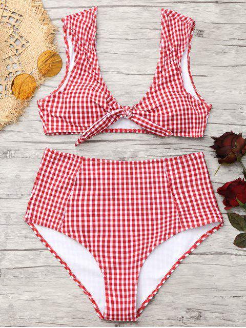 Bikini de cintura alta con lazo a cuadros - Rojo+Blanco S Mobile