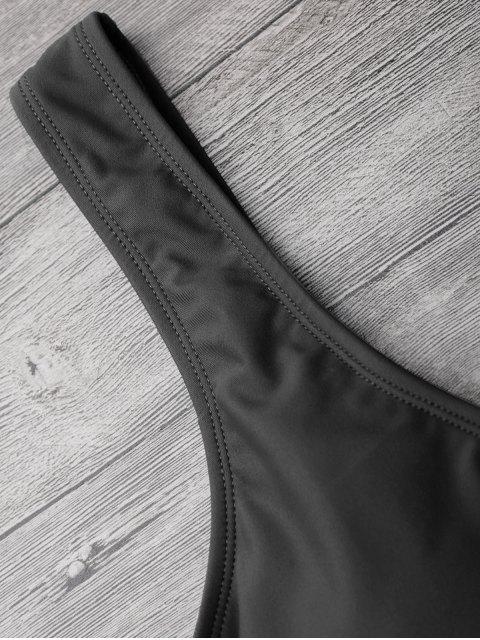 Traje de baño Bowknot recortada de pierna alta - Negro S Mobile