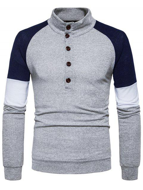 Stehkragen Buttons Farbblock Panel Sweater - Hellgrau S Mobile