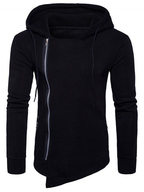 Hooded Drawstring Asymmetrischer Hoodie mit Reißverschluss - Schwarz XL Mobile
