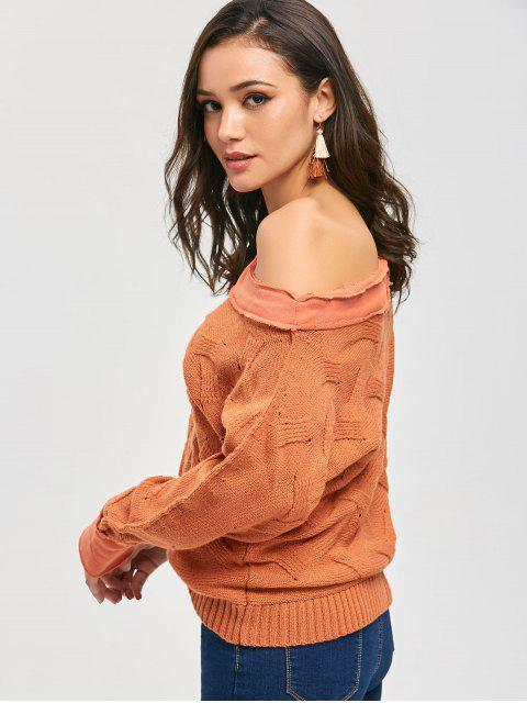 hot Skew Neck Slouchy Chunky Sweater - ORANGE ONE SIZE Mobile
