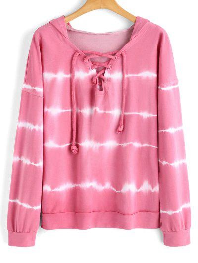Lace Up Tie Dyed Hoodie - Pinkish Purple S