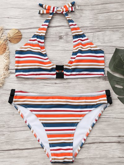 Zaful Padded Halter Striped Bathing Suit