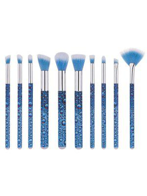 10 PCS Waterdrop Pattern Makeup Brush Set - Azul