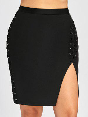 Plus Size Criss Cross Slit High Waist Skirt