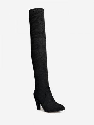 Tie Back Mid Heel Thigh High Boots