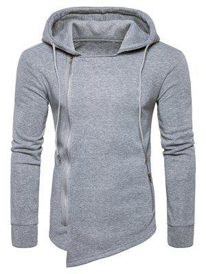 Sweatshirt à Capuche Asymétrique avec Cordon de Serrage et Fermeture Éclair