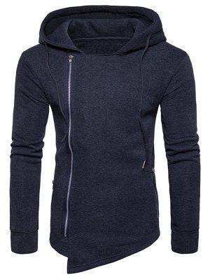 Hooded Drawstring Asymmetrischer Hoodie mit Reißverschluss