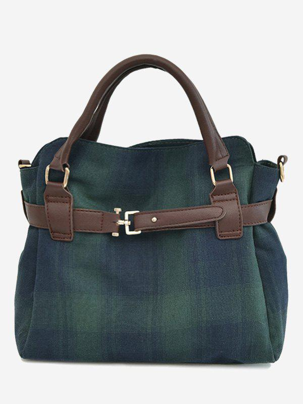 Plaid Buckle Strap Tote Bag 230860503