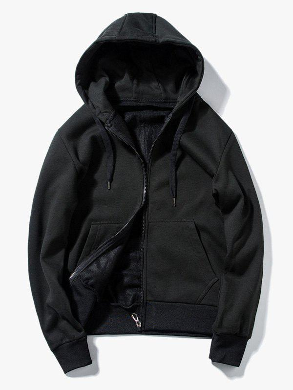 Drawstring Kangaroo Pockets Zip Up Hoodie 219152006