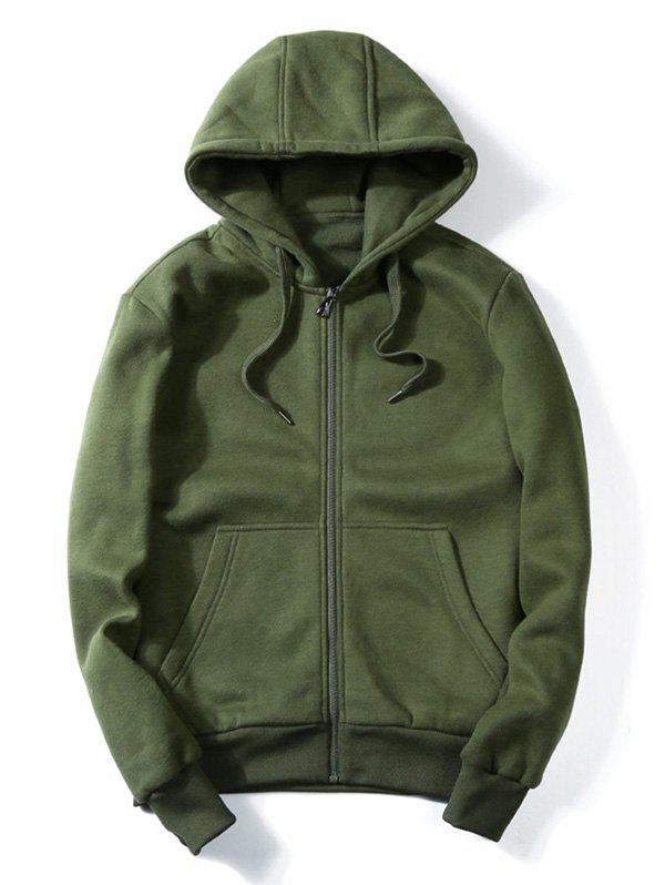 Drawstring Kangaroo Pockets Zip Up Hoodie 219152015