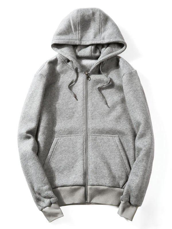 Drawstring Kangaroo Pockets Zip Up Hoodie 219152010