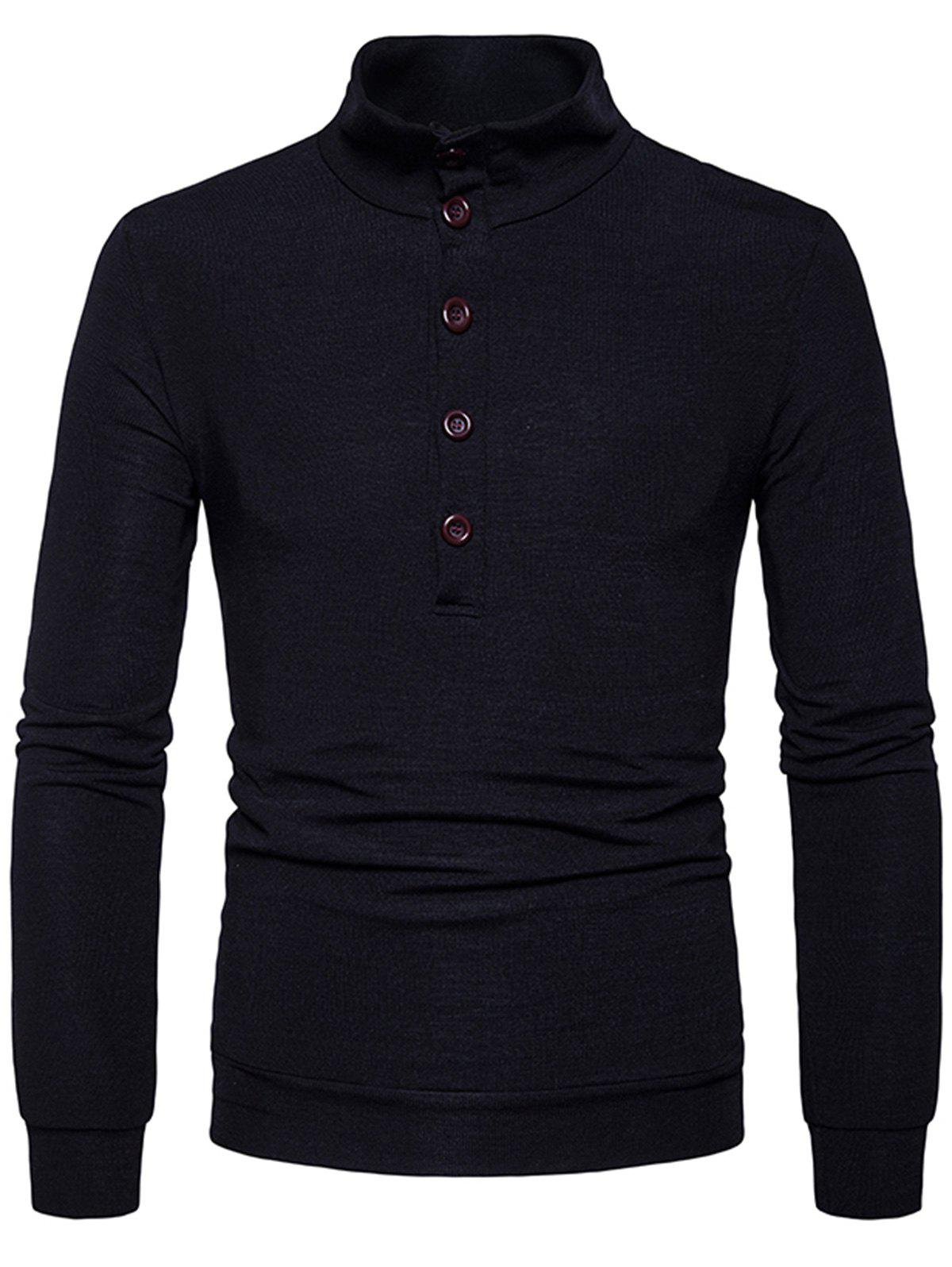 Stand Collar Buttons Long Sleeve Knitted Sweater 231126705