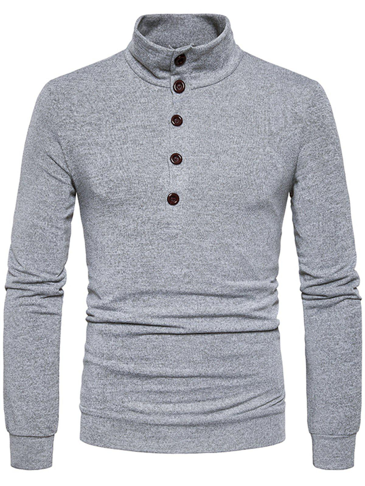 Stand Collar Buttons Long Sleeve Knitted Sweater 231126702