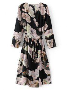 Vestido Long Sleeve Floral Wrap Midi - Floral S