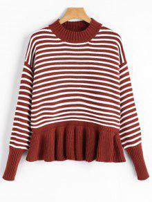 Camisola Listrada De Ombro Com Tiracolo De Ombro - Vermelho Escuro