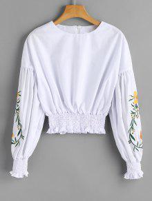 Blusa Bordada Floral Bordada Com Blusa - Branco S