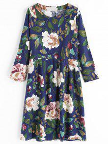 فستان طباعة الأزهار طويلة الأكمام دائرة الرقبة - أزرق 2xl