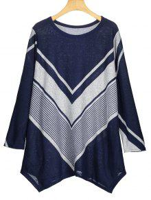 Zigzag Graphic Asymmetric Knitted Top - Azul S
