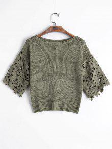 Suéter De Encaje Transparente - Verde Salvia