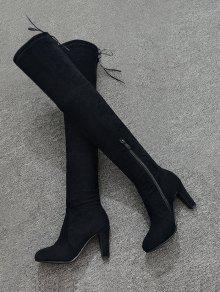 1893295ab6aa 35% OFF  2019 Tie Back Mid Heel Thigh High Boots In BLACK