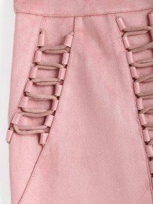 73718275b8 26% OFF] 2019 Criss Cross Faux Suede Bodycon Skirt In PINK | ZAFUL