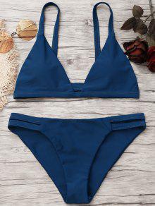 Bikini à Fronces Et à Ruches - Bleu Foncé M