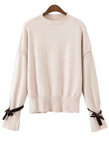 Suéter Manga Longa Babado Com Laço - Quase Branco