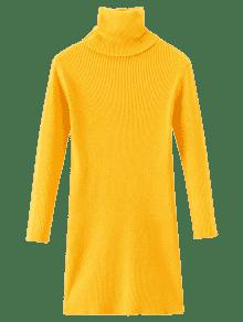 Long Turtleneck Ribbed Pullover Sweater YELLOW: Sweaters ONE SIZE ...