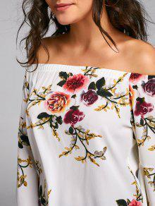 58f1cb2dfbcad 19% OFF  2019 Floral Chiffon Off Shoulder Blouse In FLORAL