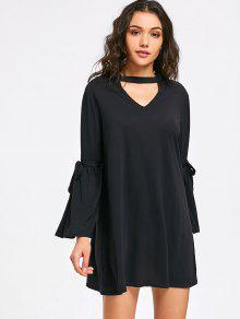 فستان مصغر بقلادة ربطة فراشية الرقبة  - أسود L