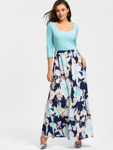 Vestido Maxi Estampado Floral Con Cuello En U - Cielo Azul S