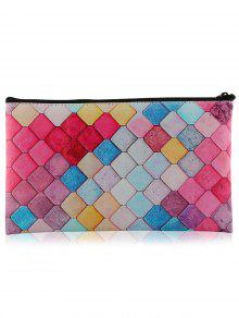 Zaful Zipper Honeycomb Colorful Makeup Tool Bag