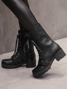 fd6046af5dae 38% OFF  2019 Block Heel Buckle Strap Mid-calf Boots In BLACK