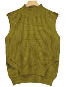 Gilet Chunky High Low Sweater - Jaune Vert