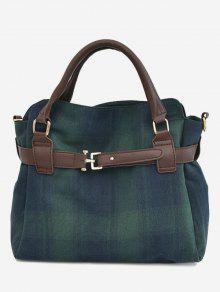 حقيبة توتي من القماش المخطط مزينة بحزام - أخضر