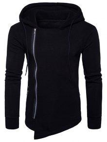Sweatshirt à Capuche Asymétrique Avec Cordon De Serrage Et Fermeture Éclair  - Noir M