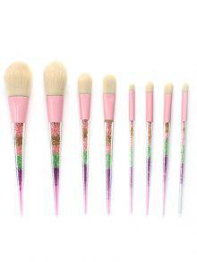 Juego De Pinceles Multicolores De Maquillaje Con Polvo De Brillo 8PCS